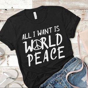 World Peace Statement Tee Black - NEW NWT